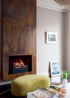 17 Modern Fireplace Ideas to Instantly Upgrade your Living Room Interior - Decorate Your Home Industrial Fireplaces, Metal Fireplace, Home Fireplace, Modern Fireplace, Living Room With Fireplace, Fireplace Surrounds, Fireplace Design, Fireplace Ideas, Distressed Fireplace