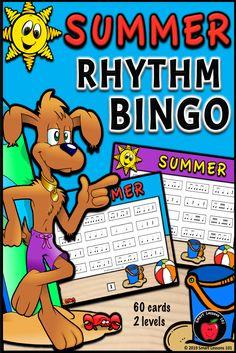 Summer Music Rhythm Bingo: Summer Music Game: Music End of the Year Activity Music Sub Plans, Music Lesson Plans, Music Lessons, Music Theory Games, Music Games, Rhythm Games, Music Activities For Kids, Music For Kids, Music Bingo