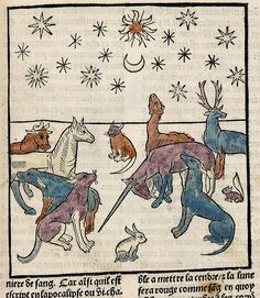 Unicorn and animals. Ars Moriendi. Paris France 1453. LOC