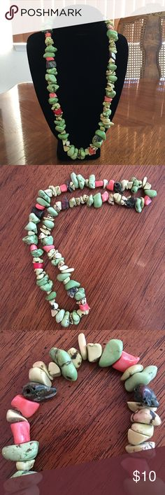 """🔶Unique Stone Necklace With Coral Pieces!🔶 🔸Unique Stone Necklace with Coral Pieces! Stones are different shades of green with coral pieces mixed in. This necklace is 13"""" long. Very unique & stylish! Never worn.🔸 Jewelry Necklaces"""