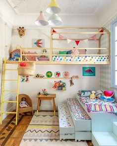 Ikea Bunk Bed Hack for Kids Bedroom Girl Room, Girls Bedroom, Bedroom Colors, Bedroom Decor, Colourful Bedroom, Bedroom Apartment, Ikea Bunk Bed Hack, Cama Ikea, Minimalist Kids