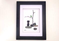 Cat lover gift - Cat and bird pebble art - cat pebble art