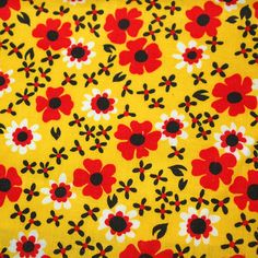 vintage 60s cotton fabric featuring great black red by vintagevice