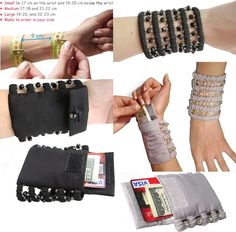 Pulswärmer mit geheimfach - - La mejor imagen sobre diy crafts para tu gusto Estás buscando algo y no has podido alcanzar la im - Sewing Hacks, Sewing Crafts, Sewing Projects, Leather Accessories, Travel Accessories, Creation Couture, Wrist Warmers, Clutch, Diy Jewelry Making