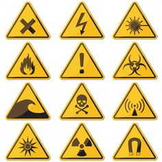 Big set of hazard yellow sign with shado. Electrician Tool Pouch, Fire Triangle, Triangle Tattoo Design, Yellow Sign, Skull Logo, Vector Freepik, Fonts, Photoshop, Graphic Design