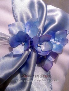 Blue satin hydrangeas. Hand made and painted with watercolor