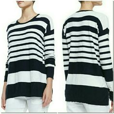Vince Cotton Striped Sweater Navy White XS New with tags. Perfect condition. No trades. Vince Sweaters Crew & Scoop Necks