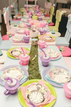 Pastel party table at an Alice in Wonderland birthday party! See more party ideas at CatchMyParty.com!