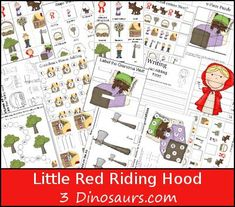FREE Little Red Riding Hood Pack - over 60 pages in the pack plus a 33 page Tot Pack. Great for kids ages 2 to 9 Nursery Rhymes Preschool, Preschool Themes, Little Red Ridding Hood, Red Riding Hood, Fairy Tales Unit, Fairy Tale Theme, Traditional Tales, Math Work, Card Patterns
