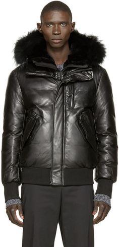 Mackage SSENSE Exclusive Black Leather Glen Down Jacket ✏✏✏✏✏✏✏✏✏✏✏✏✏✏✏✏ IDEE CADEAU / CUTE GIFT IDEA  ☞ http://gabyfeeriefr.tumblr.com/archive ✏✏✏✏✏✏✏✏✏✏✏✏✏✏✏✏