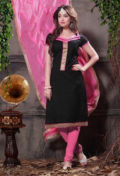 USD 21.68 Black Cotton Jacquard Churidar Suit 55953