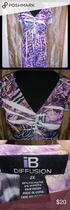 PLUS SIZE! Purple Print Maxi Dress Excellent condition. Smoke free home. IB Diffusion Dresses Maxi