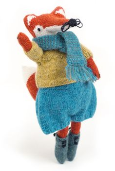 Lucinda is a genius - ridiculously cute fox with clothes from interweave knits mag.
