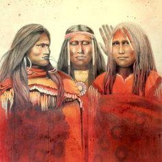 THE GOSSIPS  SALE Native Americans talking by ClarksonArt on Etsy
