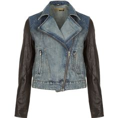 TOPSHOP MOTO Premium Leather Sleeve Denim Biker Jacket (3.730 ARS) ❤ liked on Polyvore featuring outerwear, jackets, tops, coats, mid stone, denim moto jacket, blue denim jacket, blue biker jacket, rider jacket and blue motorcycle jacket