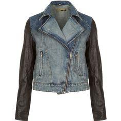 TOPSHOP MOTO Premium Leather Sleeve Denim Biker Jacket (10,180 PHP) found on Polyvore