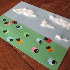 Thumbprint Ladybugs Create a field of colorful thumbprint ladybugs under a blue sky. This project is easy and lots of …