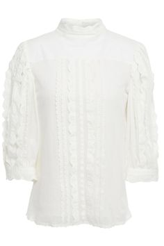 White Paneled scalloped cotton-poplin and mesh shirt | Sale up to 70% off | THE OUTNET | SEE BY CHLOÉ | THE OUTNET Coat Dress, Jacket Dress, Cute Hairstyles For Teens, Dress Outfits, Fashion Dresses, Chloe Clothing, Beach Wear Dresses, Shirt Sale, Luxury Lingerie