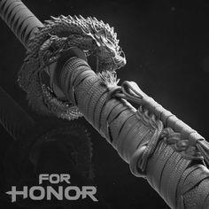 For Honor Cinematics - Emperors Katana - Clay Render, Vladimir Somov Fantasy Sword, Fantasy Weapons, Fantasy Warrior, Samurai Weapons, Katana Swords, Robot Concept Art, Weapon Concept Art, Swords And Daggers, Knives And Swords
