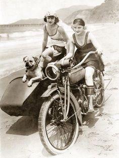 1920s Summer Beach | Women with sidecar motorcycle & dog | Cute Flapper Girls
