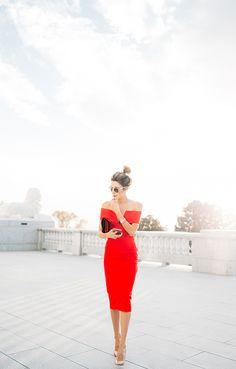 lovely red off the shoulder dress
