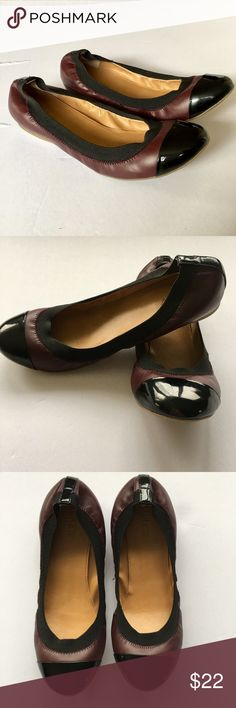J Crew Maroon Ballet Flats size 7.5 Adorable J. Crew maroon ballet flats with black patent leather toe.  Gently worn, pre-loved condition. Size 7.5 J. Crew Factory Shoes Flats & Loafers
