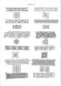 Norse knotwork, if i got a Viking tattoo then these would be good borders Simbolos Tattoo, Norse Tattoo, Norse Mythology Tattoo, Wiccan Tattoos, Inca Tattoo, Art Viking, Viking Garb, Celtic Symbols, Celtic Art