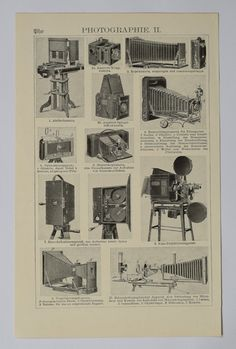 1906 About photography, an original antique print from 1906, a lithography presenting vintage cameras and tips about photography.
