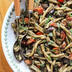 Pesto Pasta With Grilled Eggplant and Cherry Tomatoes | amodestfeast.com | @amodestfeast