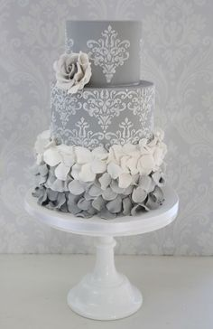 Top 2 tiers, Not grey but like lace.