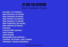 21 Day Fix EXTREME! Approved Blue Container Foods List! #21dayfixextreme