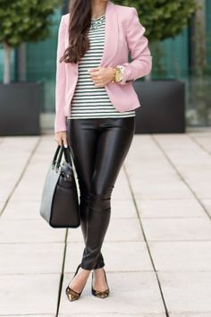 Black Gold captoe pointy flats, Black leather skinnies, BW striped shirt, Pastel Pink blazer, Black structured handbah, Gold watch