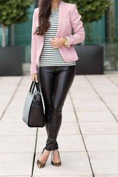Black Gold captoe pointy flats, Black leather skinnies, BW striped shirt, Pastel Pink blazer, Black structured handbah, Gold watch