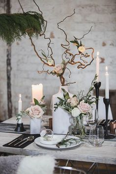 Wedding Winter Table Decorations Style For 2019 Centerpiece Christmas, Winter Wedding Centerpieces, Wedding Decorations, Table Decorations, Decor Wedding, Tree Branch Centerpieces, Flower Centerpieces, Centerpiece Ideas, Party Centerpieces