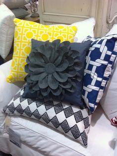 Toss pillows, love the flower on...diy?