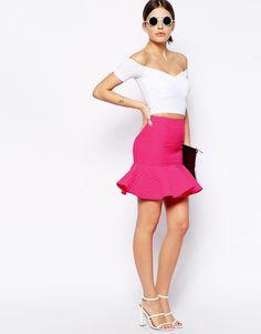 @ASOS 's Premium Peplum Hem Skirt with Texture