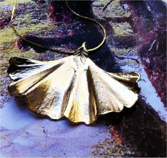 Real Ginkgo Leaf Necklace, Sterling silver pendant by Natures Leaves real leaf jewelry