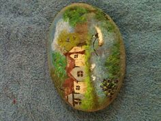 Painted scene on a rock