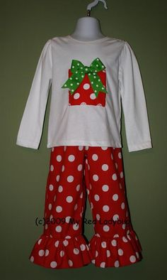 Christmas Present Shirt Ruffle Polka Dot Pants-personalized christmas outfit ruffled pants ruffle pants