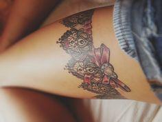 _ garter & red bow & heart diamond tattoo _