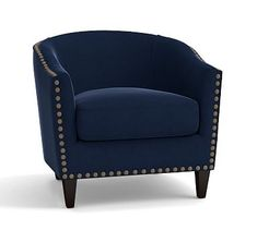 Harlow Upholstered Armchair with Pewter Nailheads, Polyester Wrapped Cushions, Performance Everydayvelvet(TM) Navy