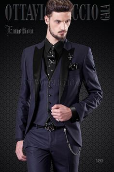 Blue groom tuxedo with satin lapel and black vest Black Vest, Black Suits, Groom Tuxedo, Groom Suits, Mens Fashion Suits, Mens Suits, Black Suit Combinations, Men's Tuxedo Styles, Prom Blazers