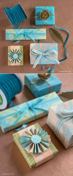 #DIYGiftwrapping You can make this marbled paper! Instructions at www.LiaGriffith.com