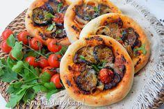 Mini pizze z grillowanym bakłażanem