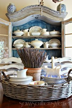 """Collecting in blue """" french country farmhouse """" столовая, ку French Decor, French Country Decorating, Cottage Decorating, Decorating Ideas, French Country Farmhouse, Farmhouse Decor, Savvy Southern Style, Blue And White China, Sweet Home"""
