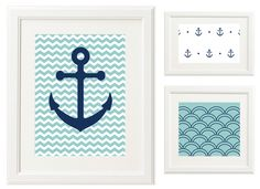 Oh So Lovely: Anchors Away! Free Printables. Available in kelly green, grey, hot pink and aqua.