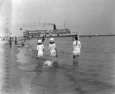 """""""Leaving through the Eastern Gap"""" This photograph is from a dry-plate negative in our Special Collections. It was taken on Ward's Island by Charles A. Wiliams sometime in the or We think the girls in the foreground are the photographer's daughters. Toronto Photos, Canadian History, Toronto Canada, Old Photos, North America, Scenery, Around The Worlds, Island, Black And White"""