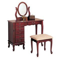Vanity Set with Mirror and Stool Vintage Antique Makeup Dresser ...