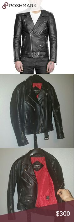 Straight to Hell Commando Leather Jacket *Mint condition!* This classic genuine leather motorcycle jacket features:  Premuin heavyweight buffalo leather Quilted red polyester lining  Engraved metal church key zipper pulls Interior and exterior chest pockets Zippered sleeve pocket  Men's size 36  No trades, just selling.  Thank you! Straight To Hell Jackets & Coats