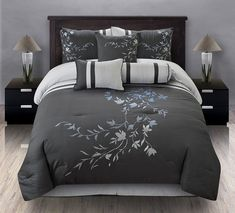 7pcs queen karissa embroidered comforter set black white free shipping